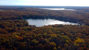 Autumn arrives in Montcalm County Michigan Bass Lake-Big Whitefish Lake